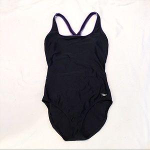 Speedo Aquatic Ultra Back Swimsuit Black Purple 18